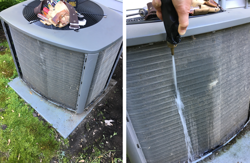 Two photos combined of a central unity air conditioner with the vent panels removed from the side. The left photo has a tool belt on the top of the unit. The right photo shows a hose cleaning out the condensers.