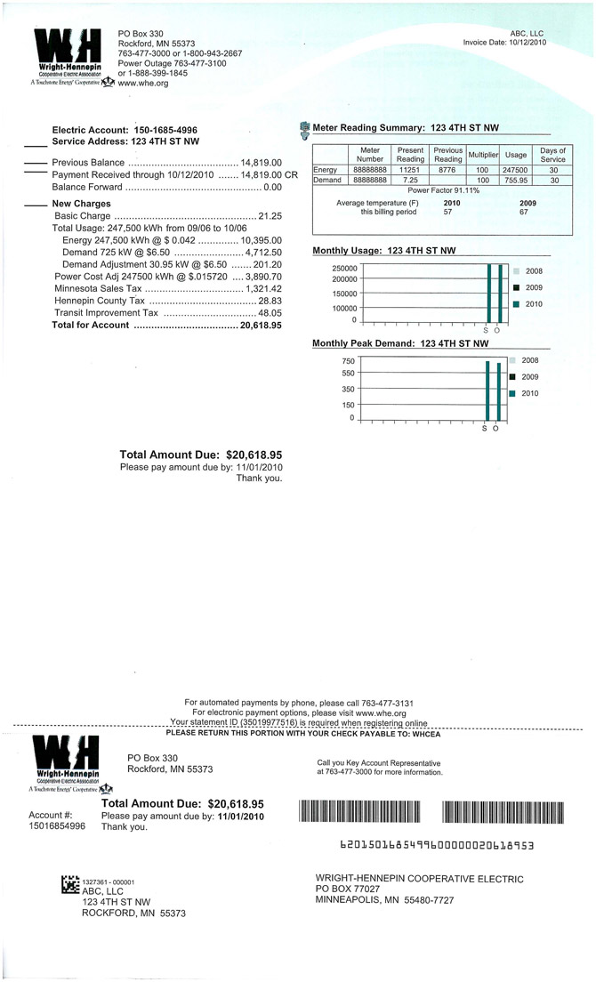 Wright-Hennepin's Commercial electric bill