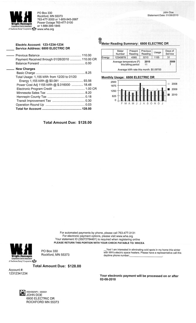 Wright-Hennepin's residential electric bill
