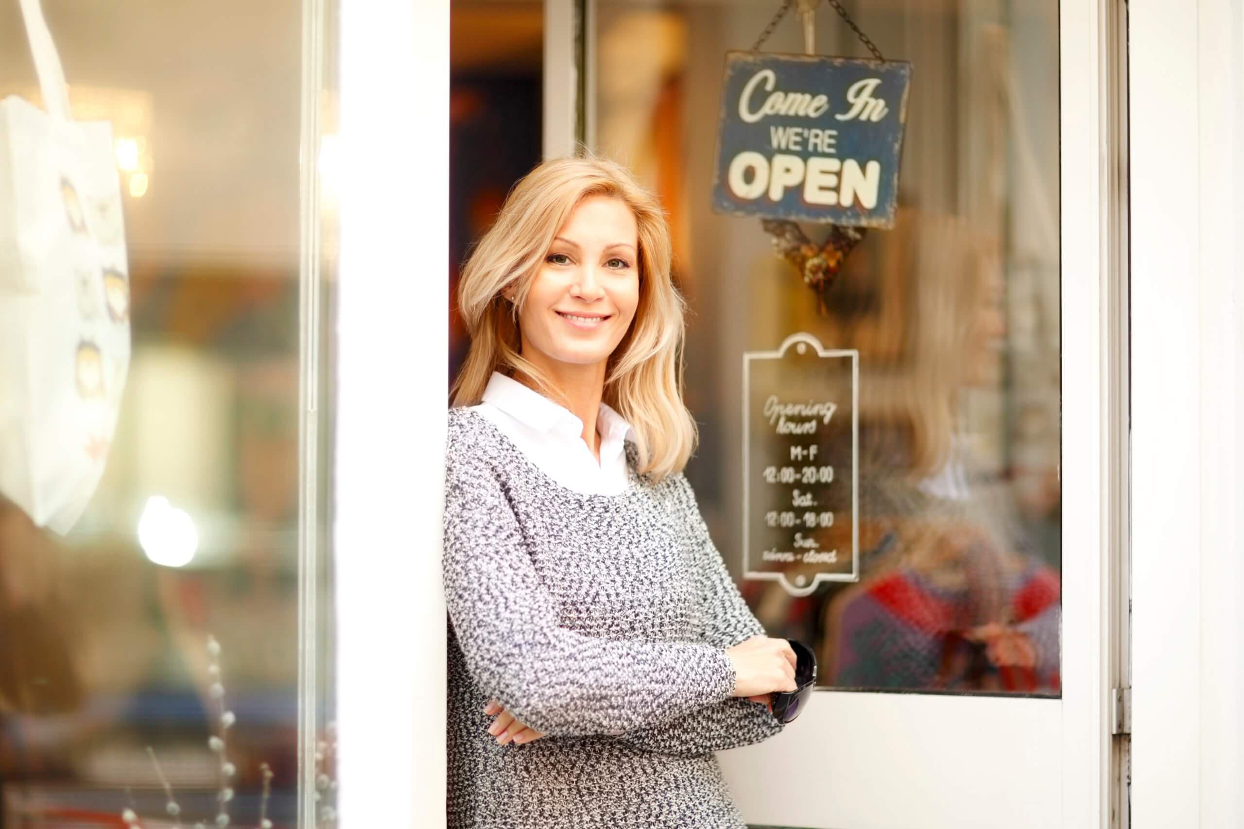 Smiling small business owner